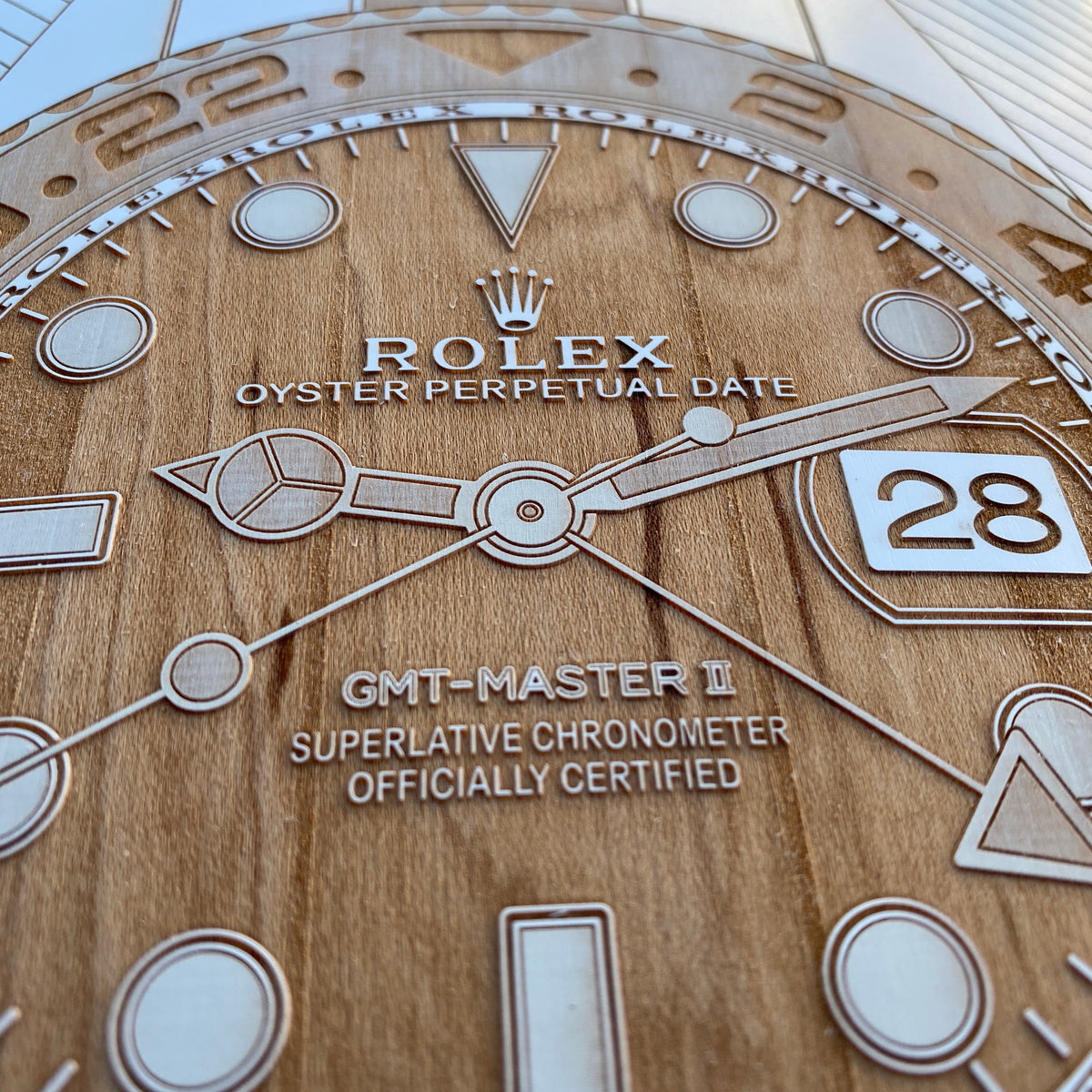 Rolex GMT Master II Root Beer Skateboard Deck Art - White - Lugcraft Inc