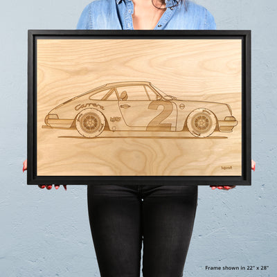 "Porsche 911 ""Pebbles"" Framed Wood Engraved Artwork - Lugcraft"