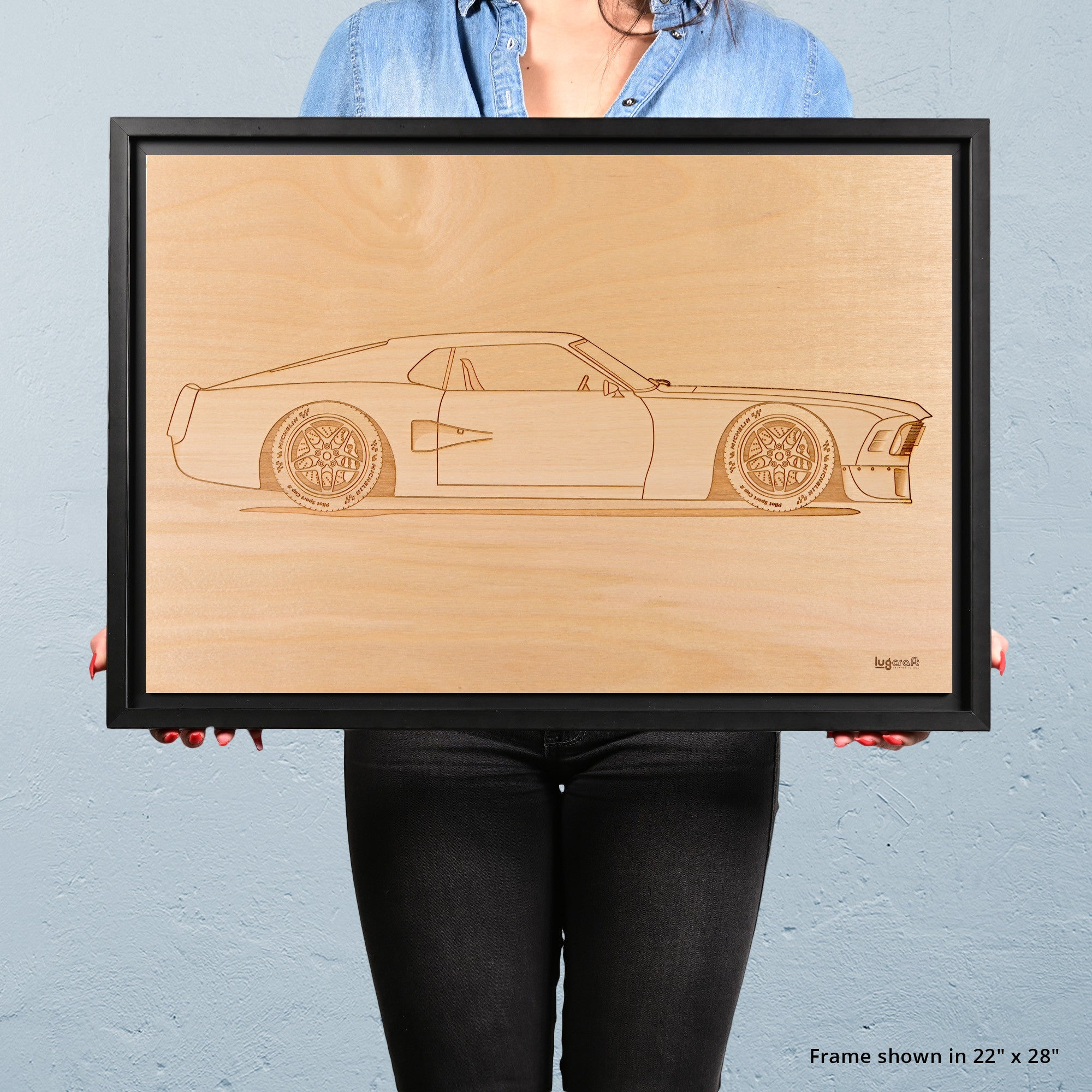 Ford Mustang Boss Framed Wood Engraved Artwork