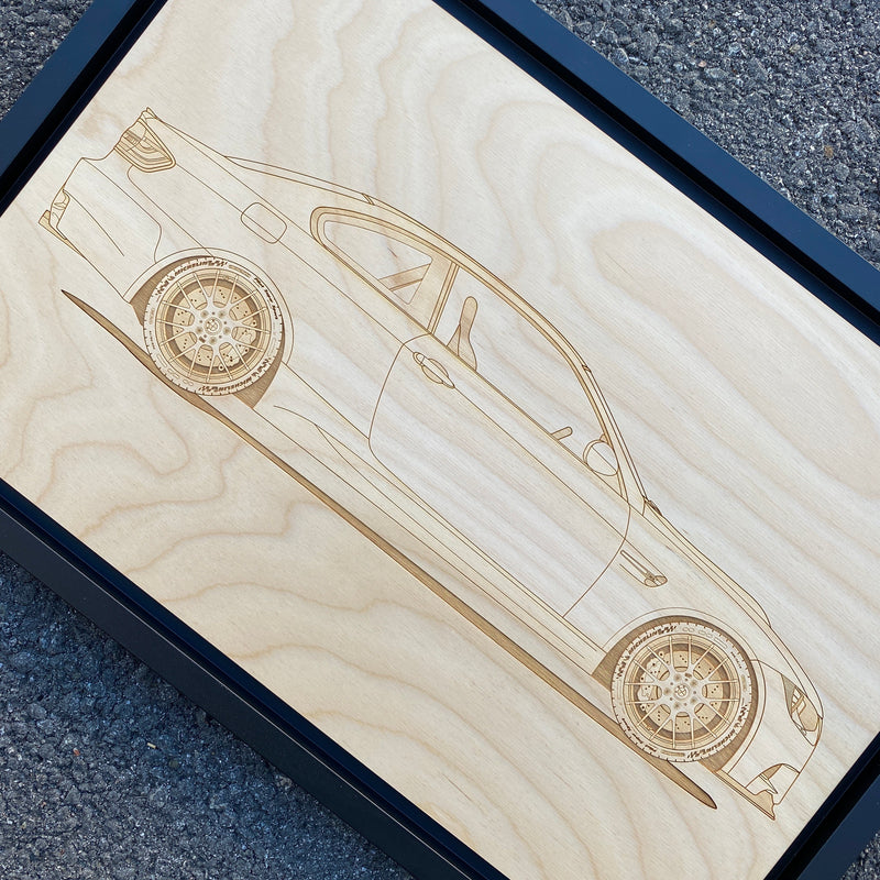 BMW M3 E92 Framed Wood Engraved Artwork