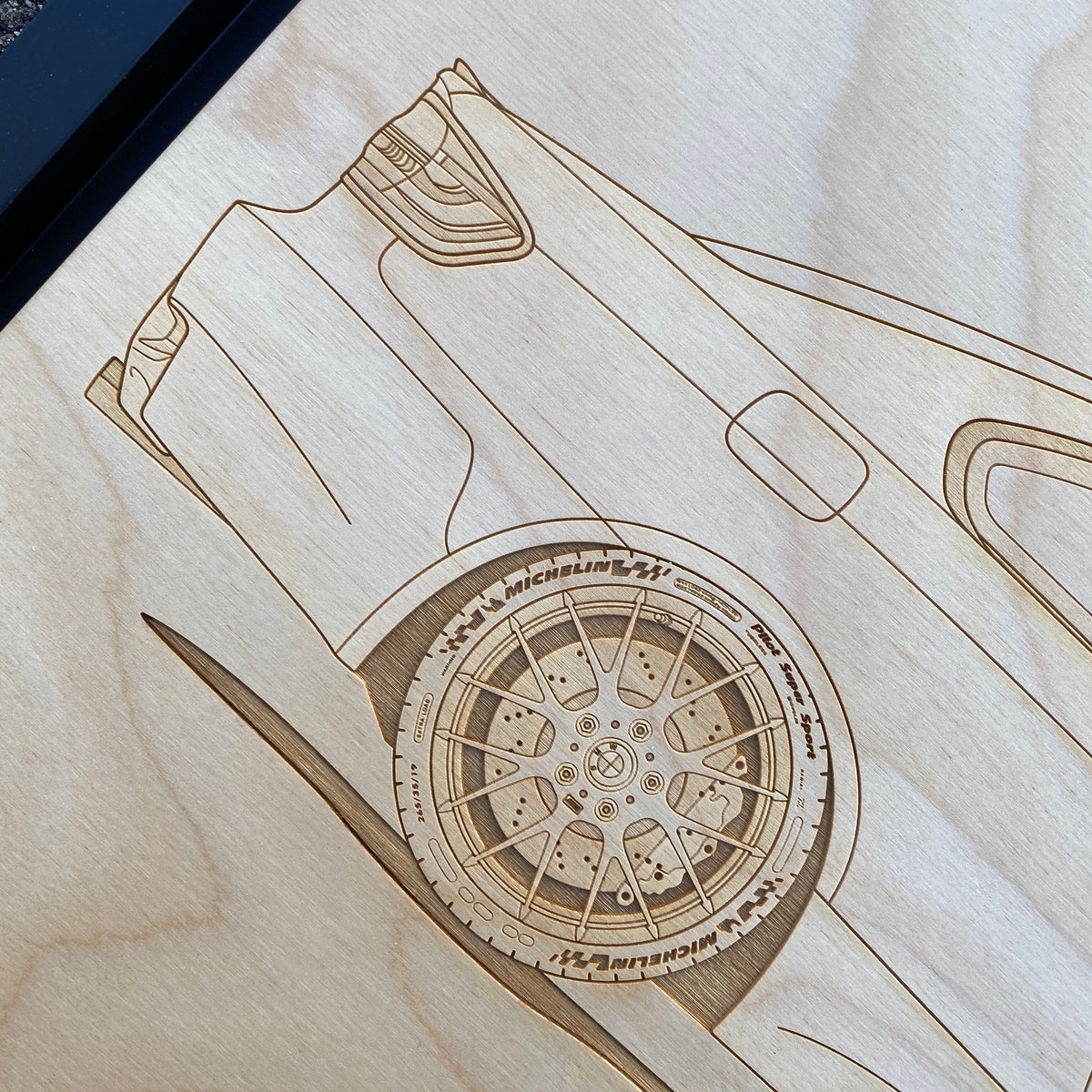 BMW M3 E92 Framed Wood Engraved Artwork - Lugcraft
