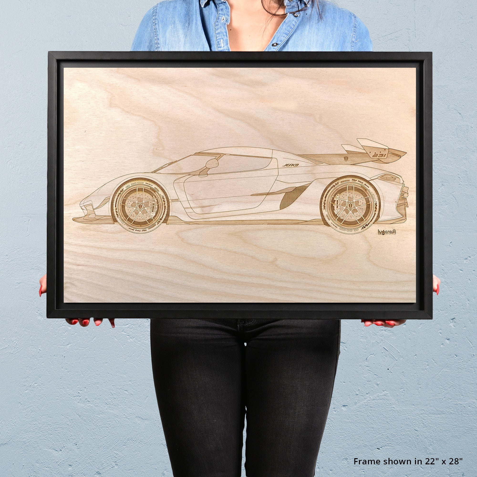 Koenigsegg Jesko Framed Wood Engraved Artwork