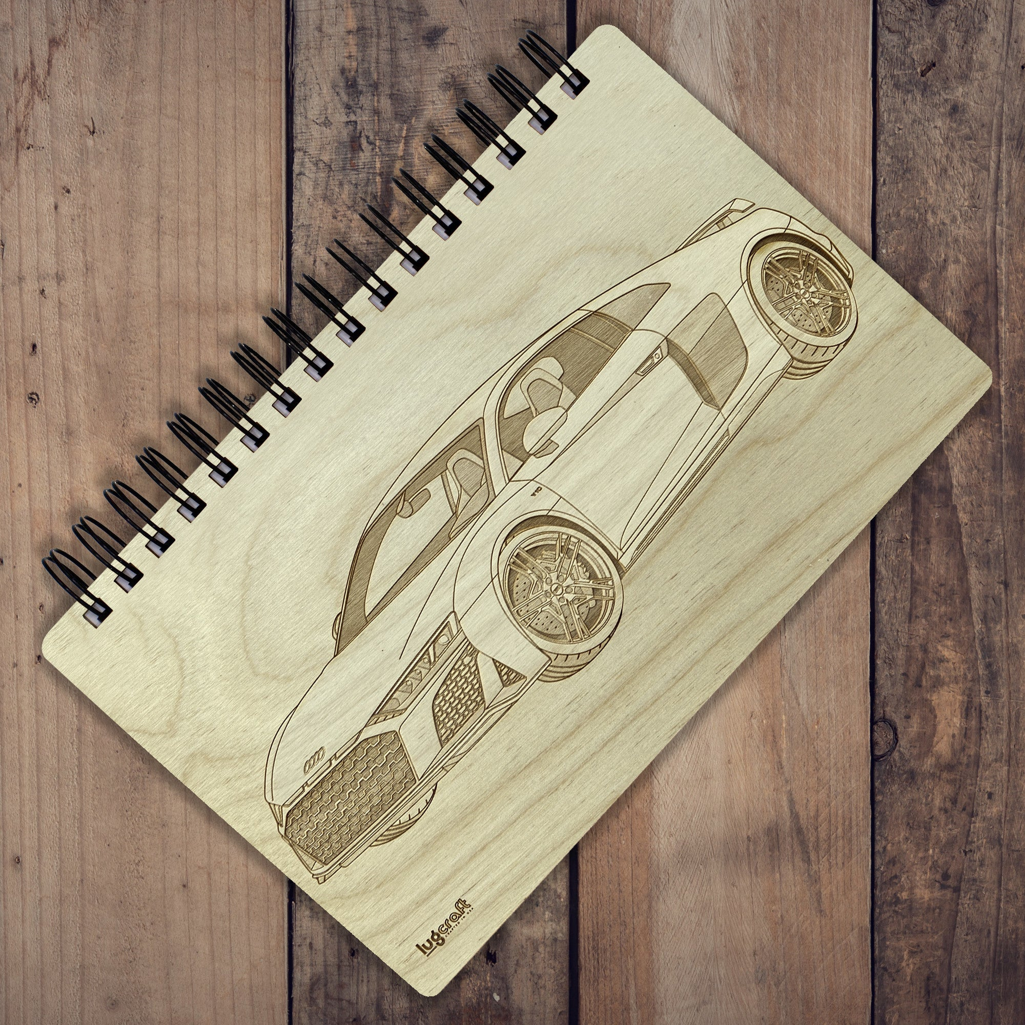 "Audi R8 Engraved Notebook - 6"" x 9"" - Lugcraft"