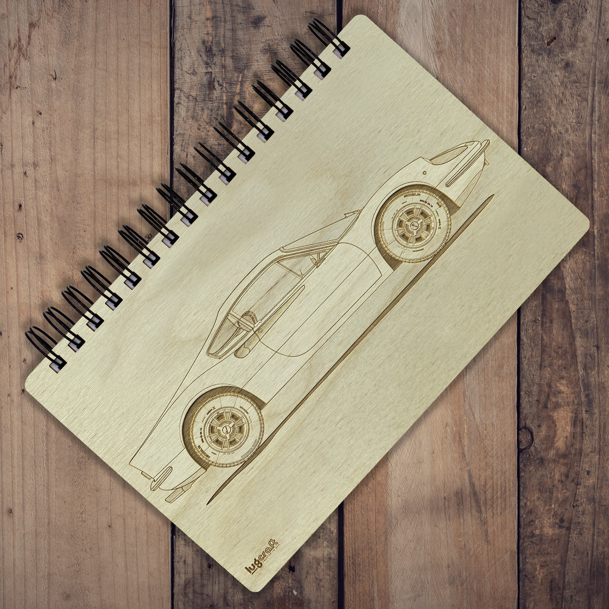 "Ferrari Dino 206GT Engraved Notebook - 6"" x 9"" - Lugcraft Inc"