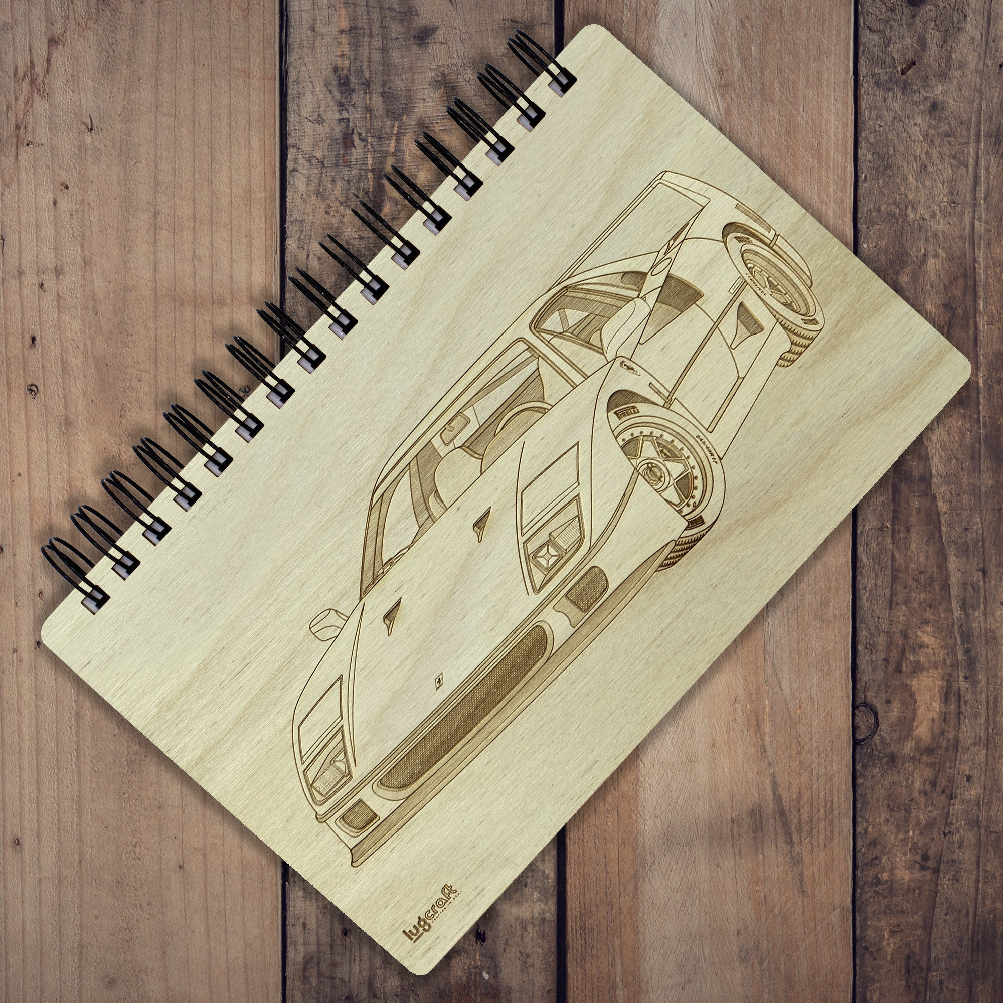 "Ferrari F40 Engraved Notebook - 6"" x 9"" - Lugcraft"