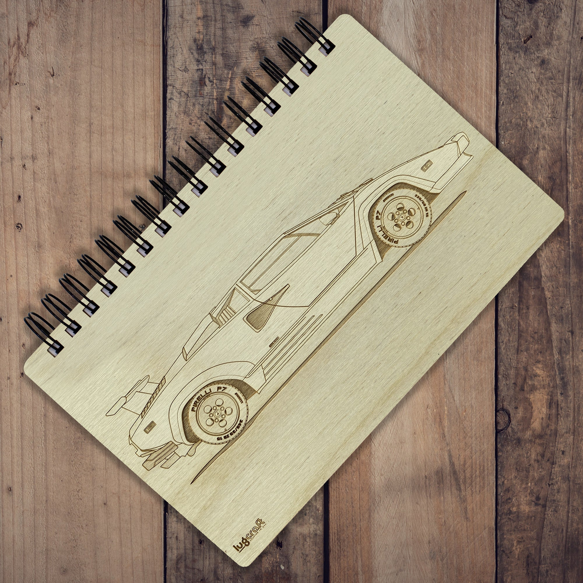 "Lamborghini Countach Engraved Notebook - 6"" x 9"" - Lugcraft Inc"