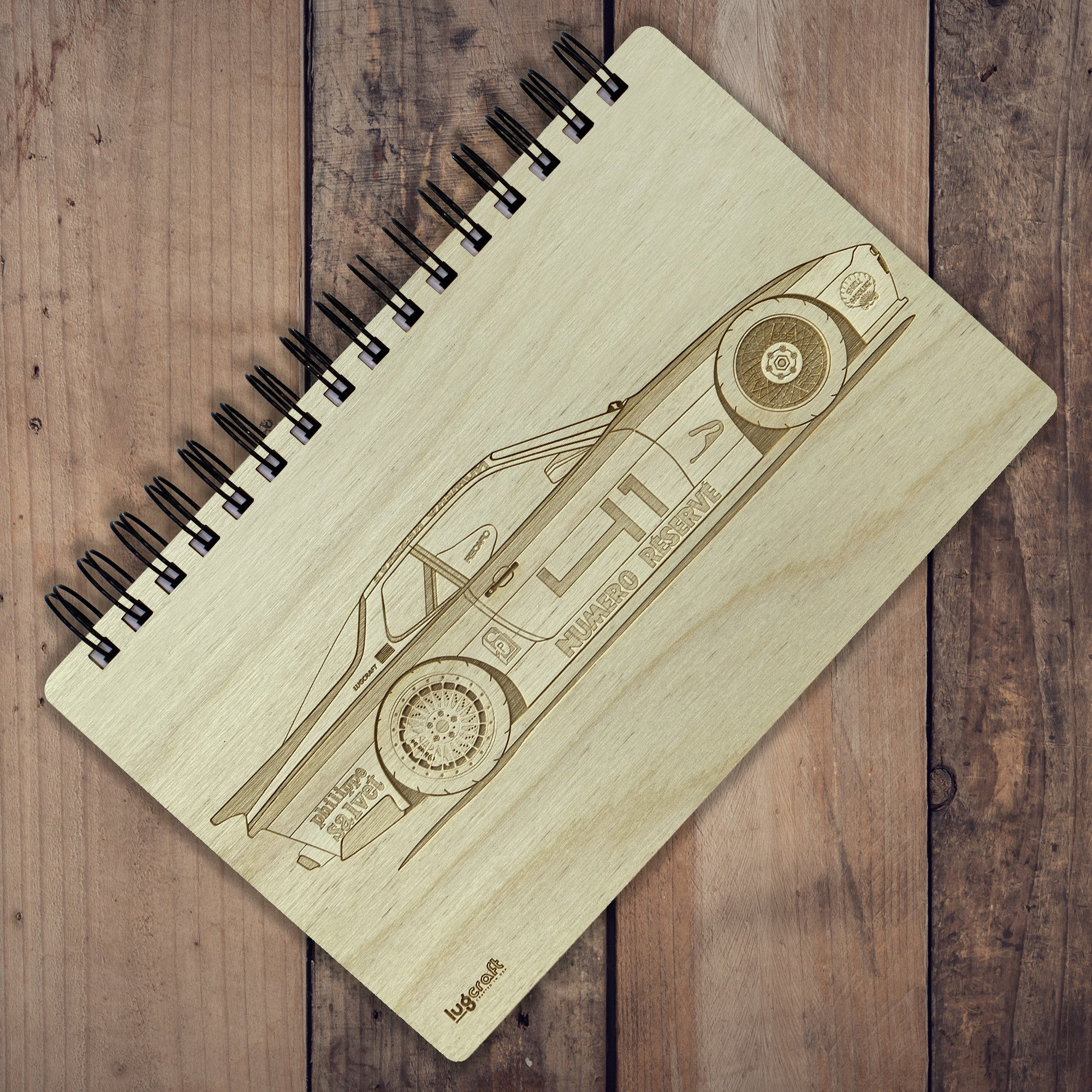 "Porsche 944 Livery Engraved Notebook - 6"" x 9"" - Lugcraft Inc"