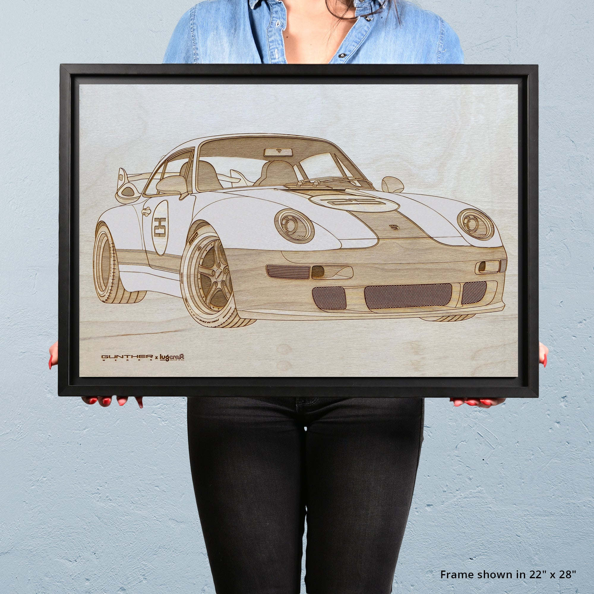 Gunther Werks 993 Gulf Framed Wood Engraved Artwork