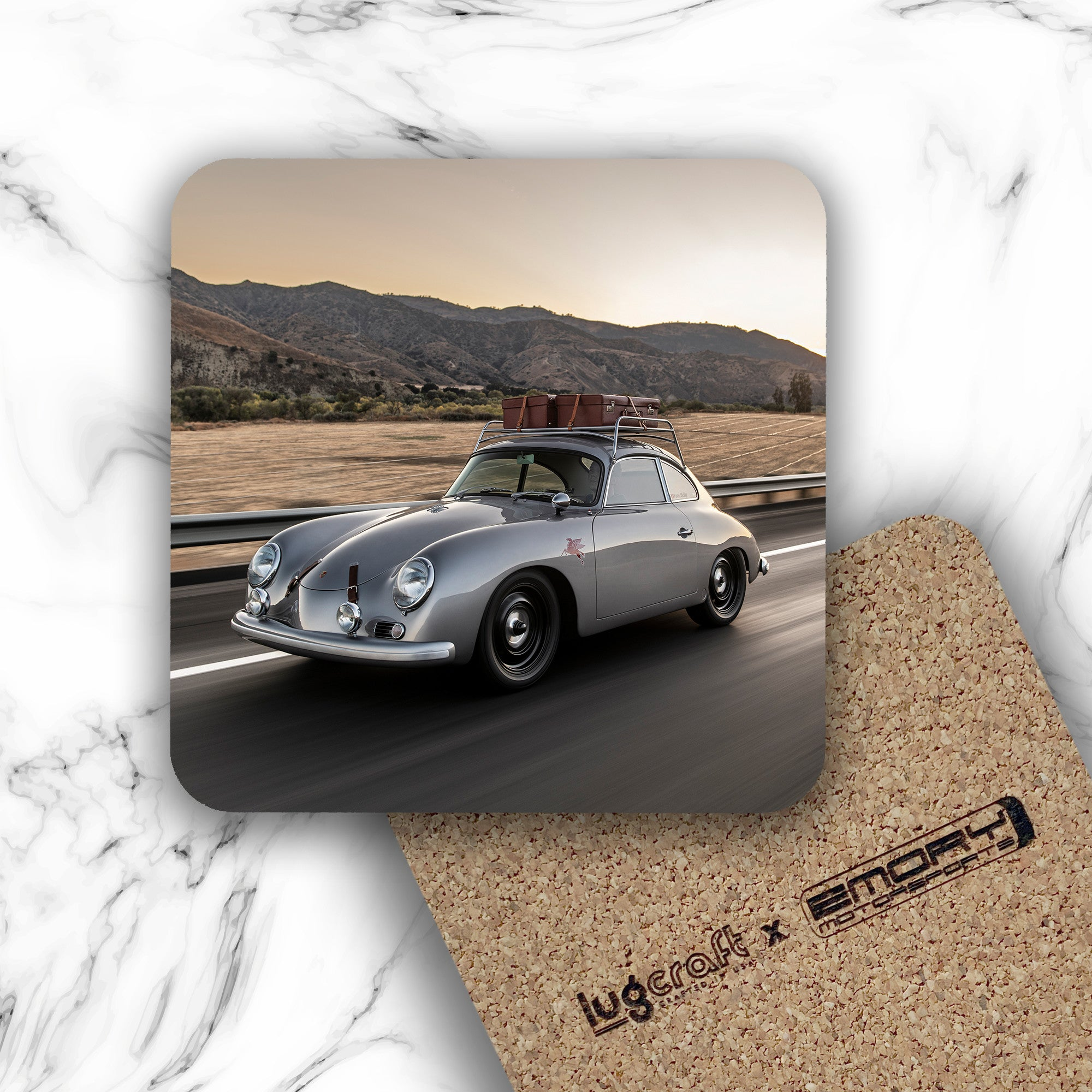 Emory Outlaw 1959 356 Silver Coupe Drink Coaster - Lugcraft