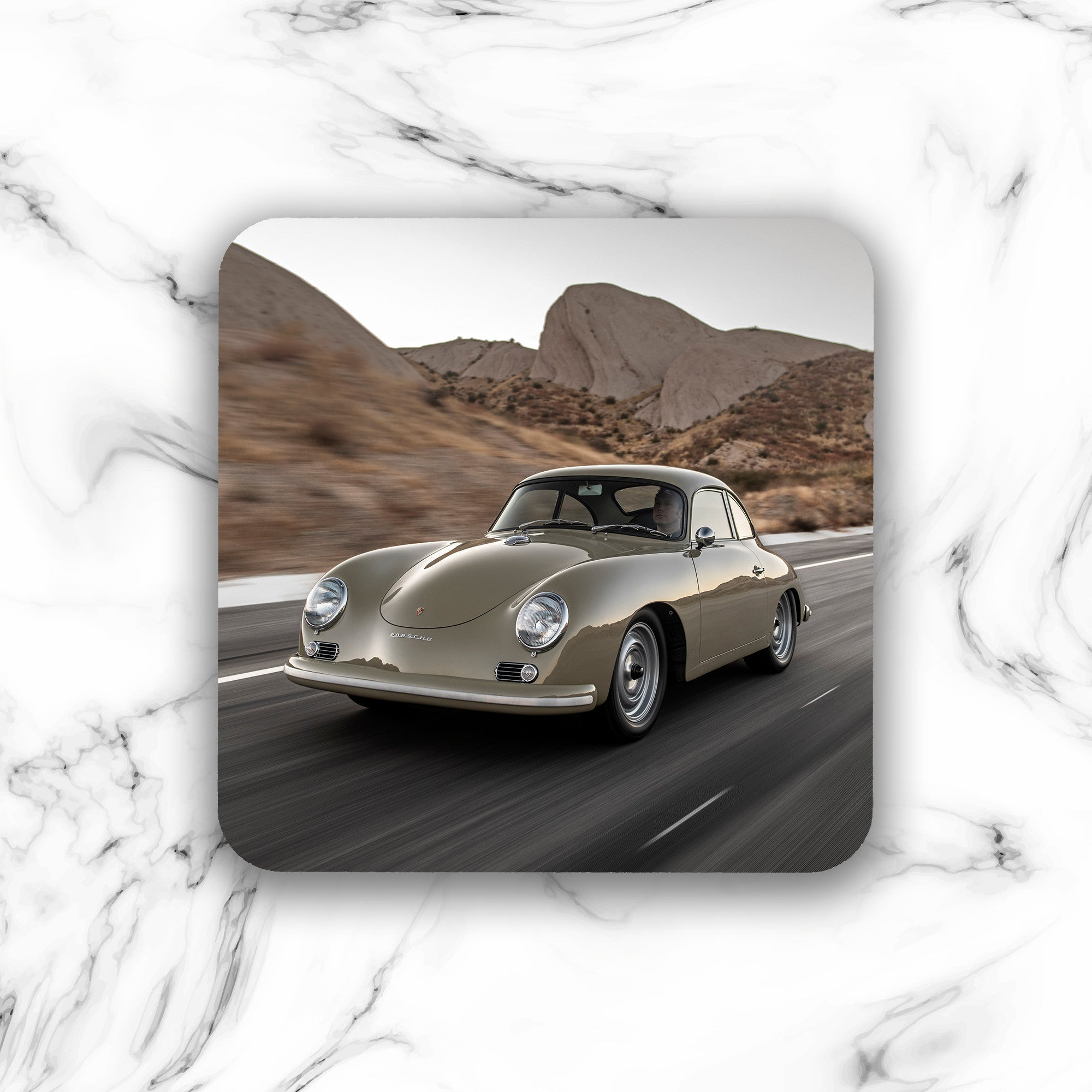 Emory Outlaw 1959 356 Stone Grey Coupe Drink Coaster - Lugcraft