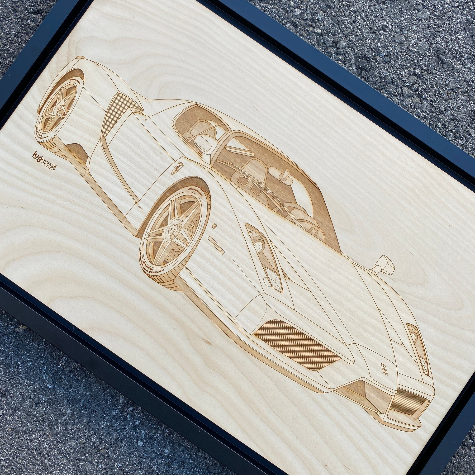 Ferrari Enzo Framed Wood Engraved Artwork - Lugcraft
