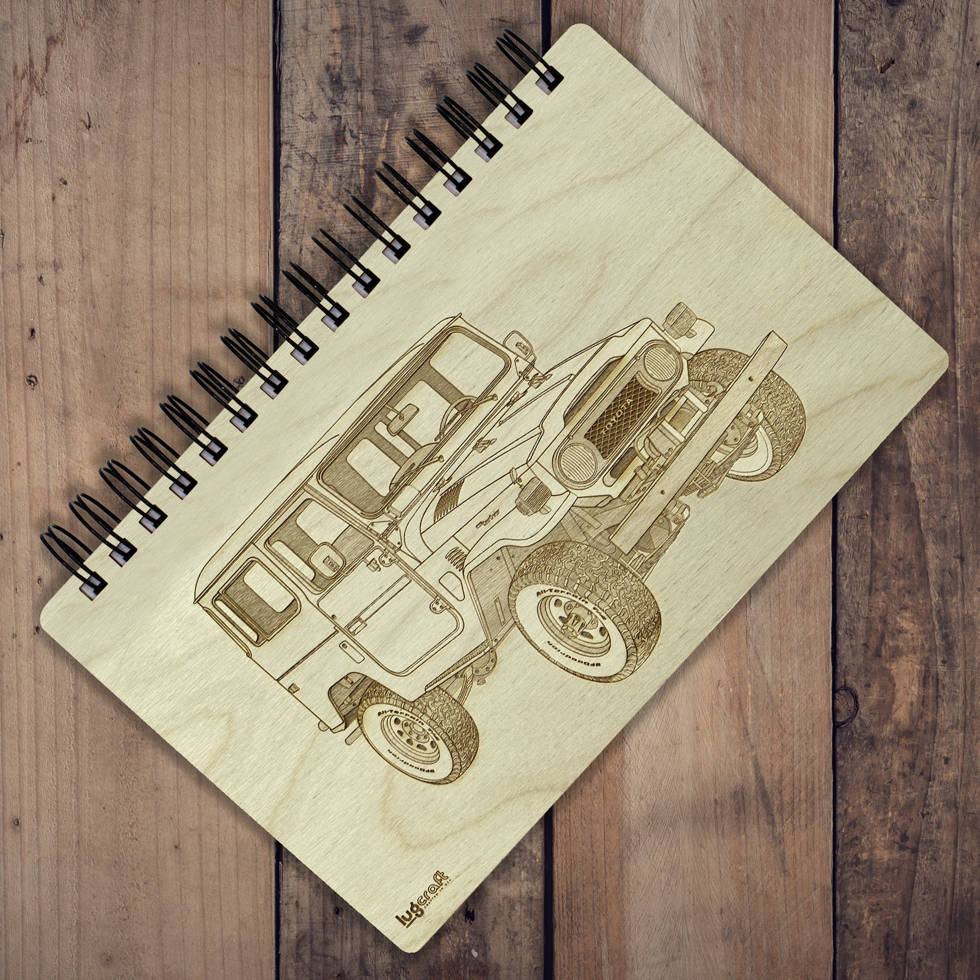 "Toyota FJ40 Engraved Notebook - 6"" x 9"" - Lugcraft Inc"