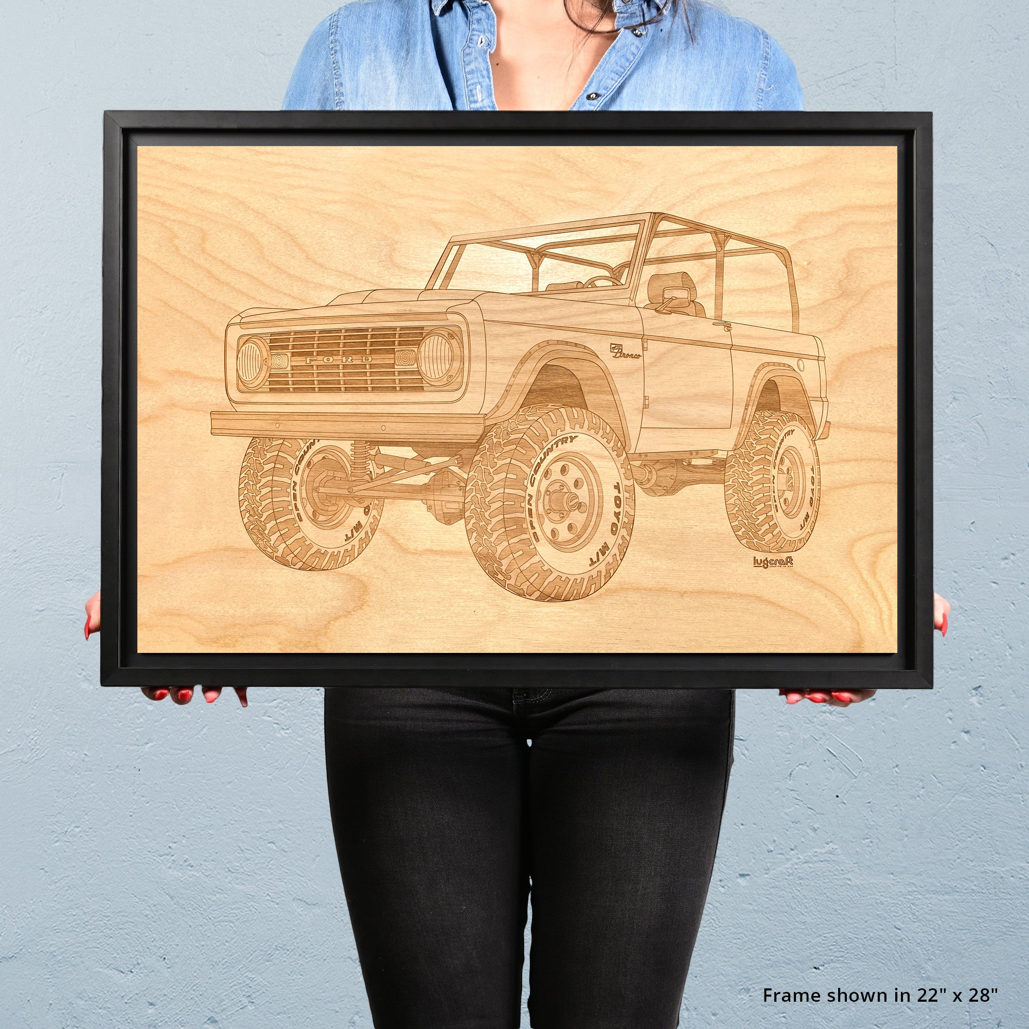 Ford Bronco Classic Framed Wood Engraved Artwork - Lugcraft