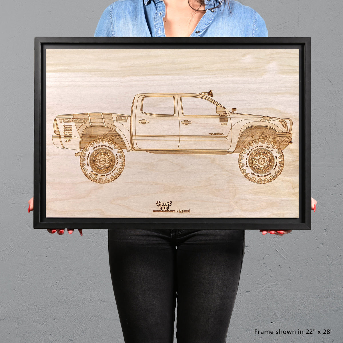 Tacoma Beast Framed Wood Engraved Artwork