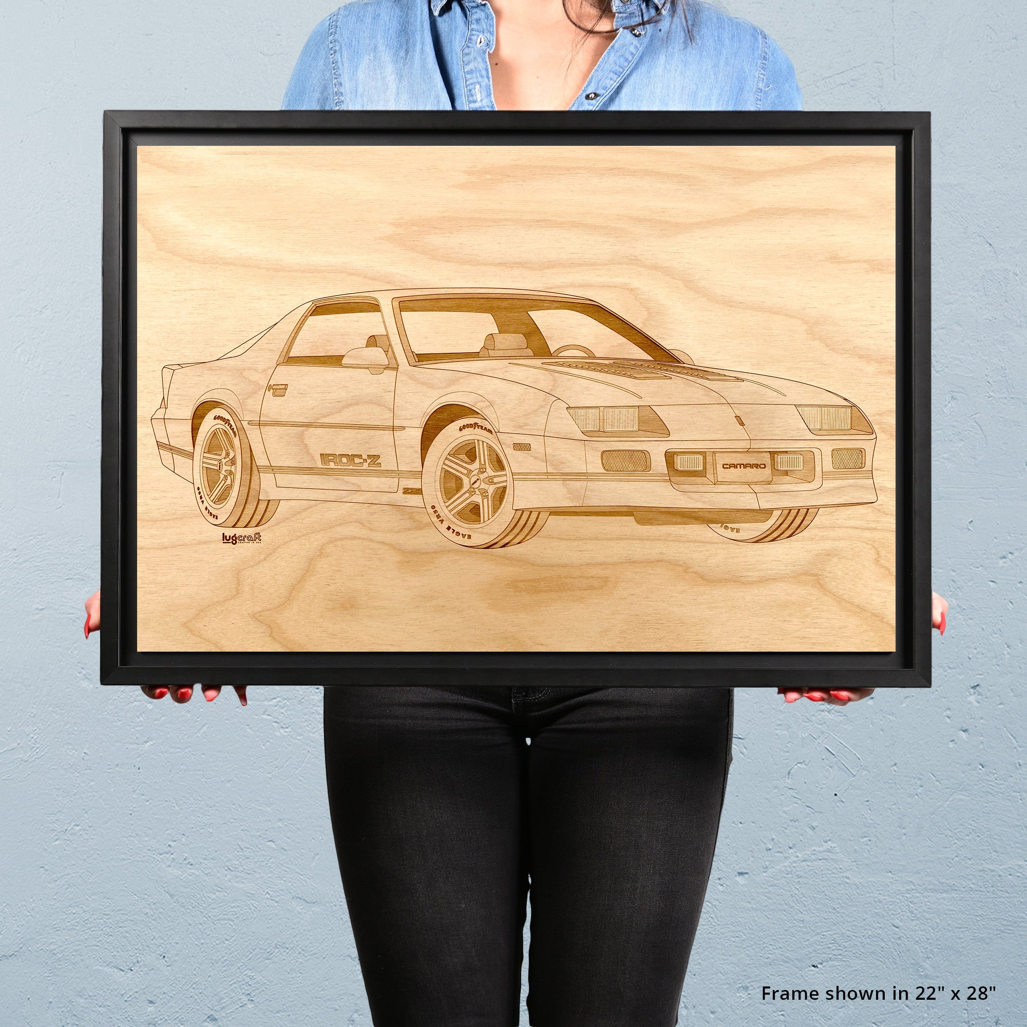 Chevy IROC-Z Camaro Framed Wood Engraved Artwork - Lugcraft