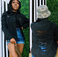 Black Ripple Back Denim Jacket