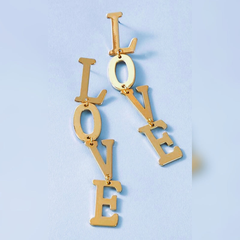 LOVE Letter Drop Earrings (Gold)