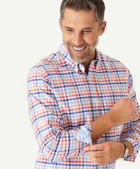 Easy Care Multi Check Shirt in Coral