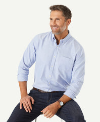 Casual Plain Oxford Shirt in Sky Blue
