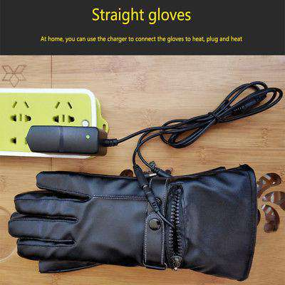 Woman Leather Electric Heated Gloves