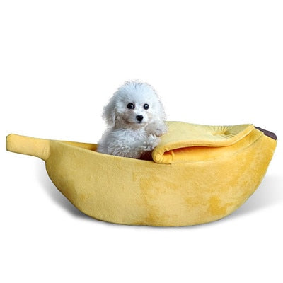 Banana Cat Bed House Cozy Cute Banana Puppy Cushion Kennel Warm Portable Pet Basket Supplies Mat Beds for Cats & Kittens - SALEONE