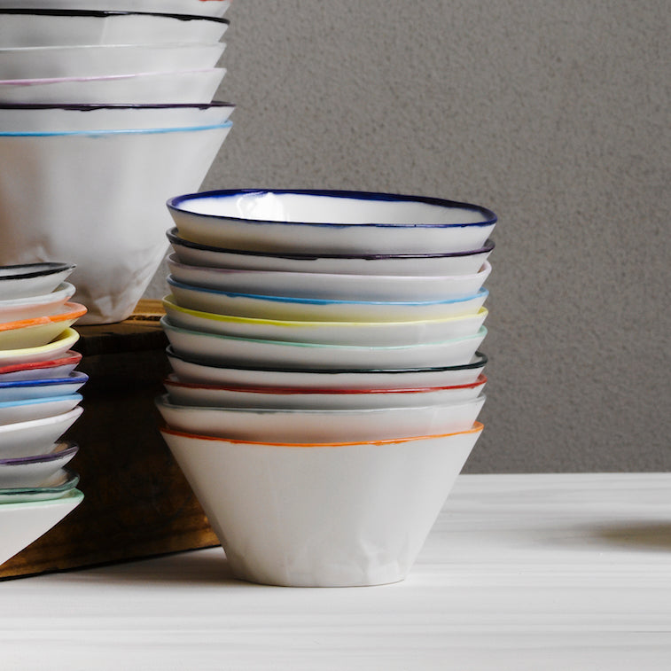 Coloured Rim Paper Series Dessert Bowl - Set of 4