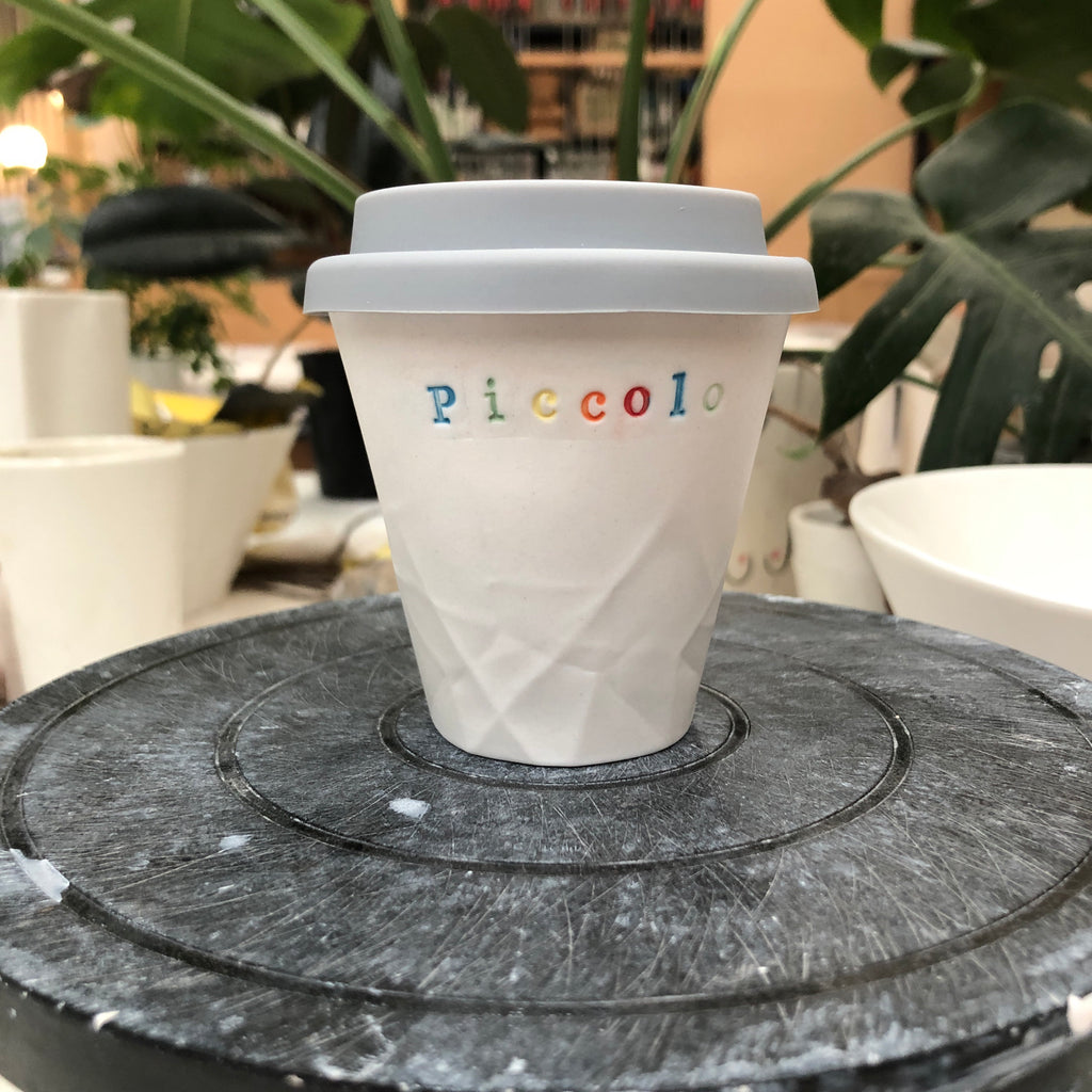 Ceramic Personalised Paper Series Piccolo Keep Cup Rainbow Lettering
