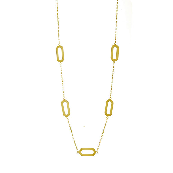 Necklace Yellow Gold Fivefold Athens Link