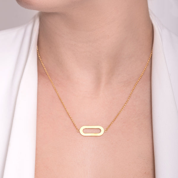 Necklace Yellow Gold Single Athens Link