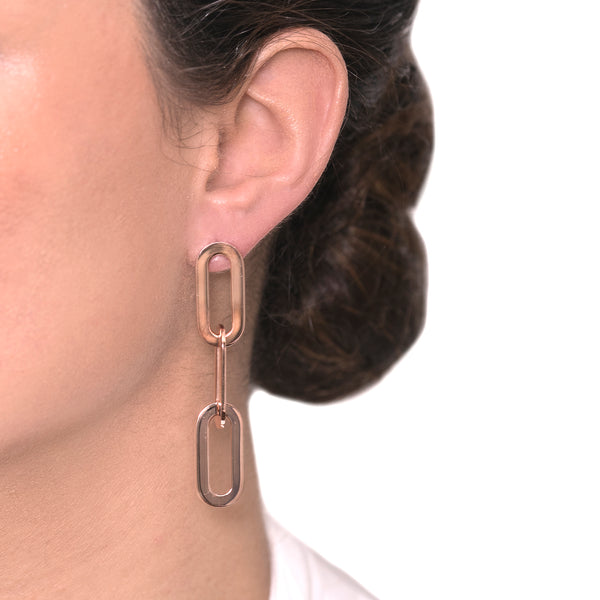 Earrings Rose Gold Triple Athens Link