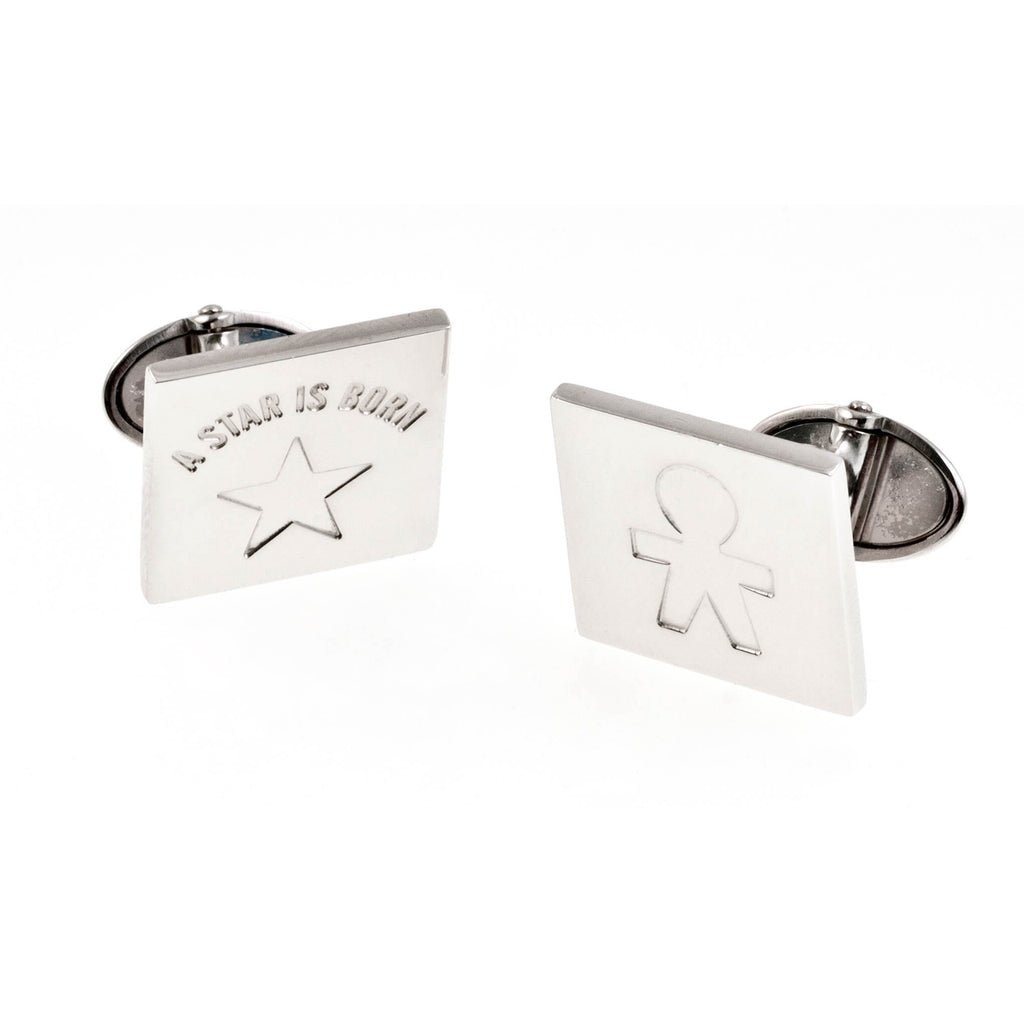 "Cufflinks Silver ""A star is born"""