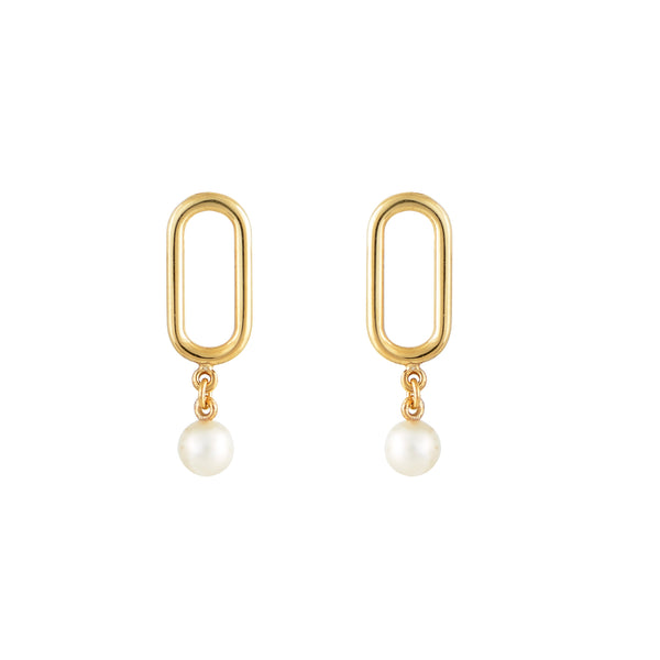Earrings with Pearls Sea Link Slim