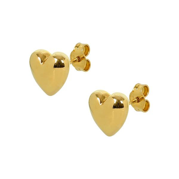 Earrings Single Heart Yellow Gold