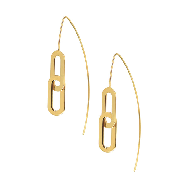 Earrings Yellow Gold Pin Athens Link