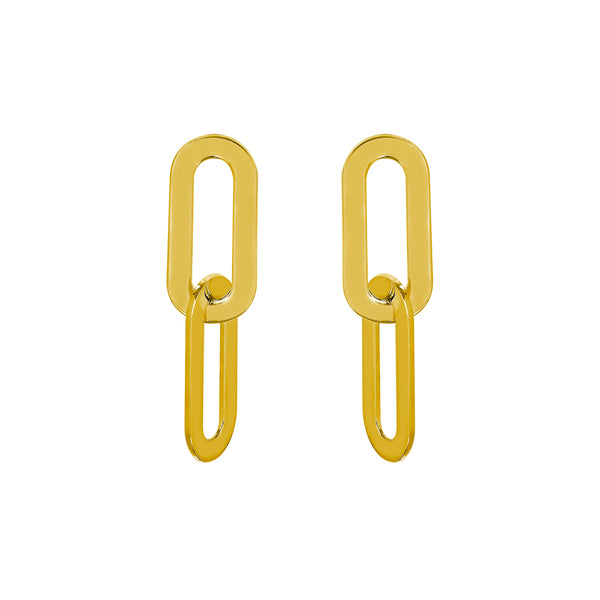 Earrings Yellow Gold Double Athens Link