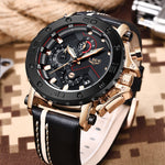 2019LIGE New Fashion Mens Watches Top Brand Luxury Big Dial Military Quartz Watch Leather Waterproof Sport Chronograph Watch Men