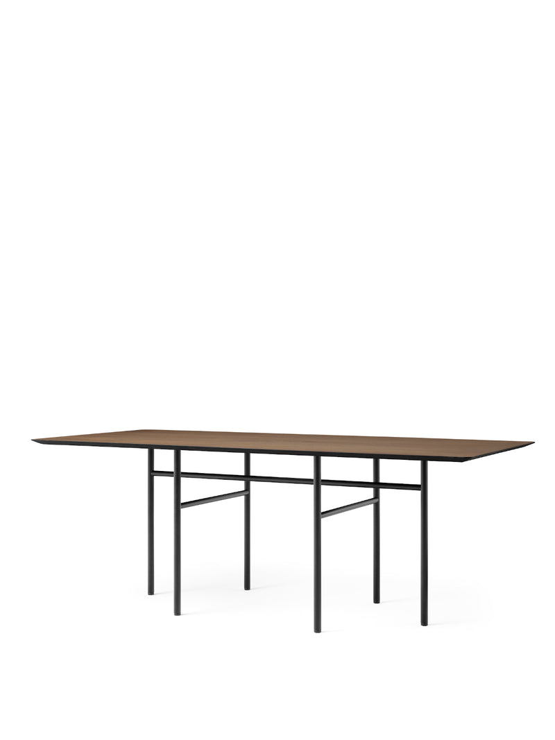 Snaregade Table, Rectangular-Dining Table-Norm Architects-Dining Height (28.7in H)/Black Powder Coated Steel-Rectangular - Dark Stained Oak-menu-minimalist-modern-danish-design-home-decor