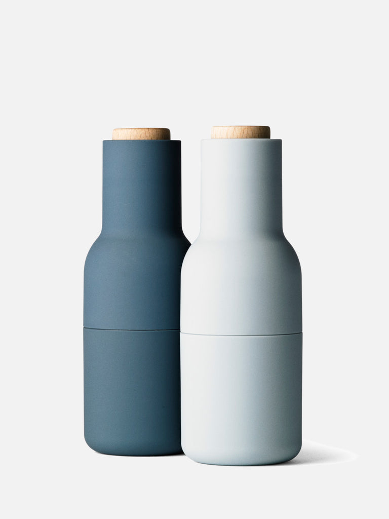 Bottle Grinder, Small, 2-Piece-Spice Mill-Norm Architects-Blues w. Beech Lid-menu-minimalist-modern-danish-design-home-decor