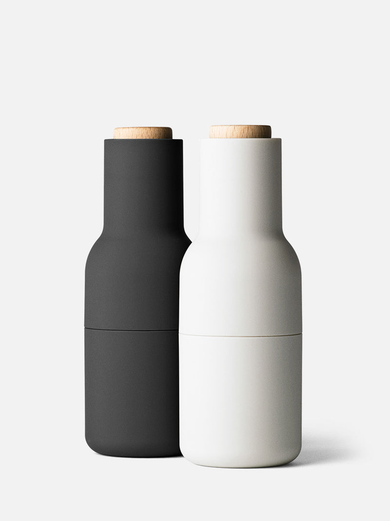 Bottle Grinder, Small, 2-Piece-Spice Mill-Norm Architects-Carbon/Ash w. Beech Lid-menu-minimalist-modern-danish-design-home-decor