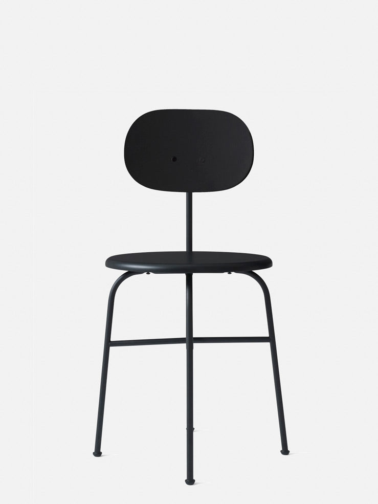 Afteroom Plus Chair, Non-Upholstered-Bar Chair-Afteroom Studio-Black Painted MDF-Dining Height (Seat 18.1in H)/Black Steel-menu-minimalist-modern-danish-design-home-decor