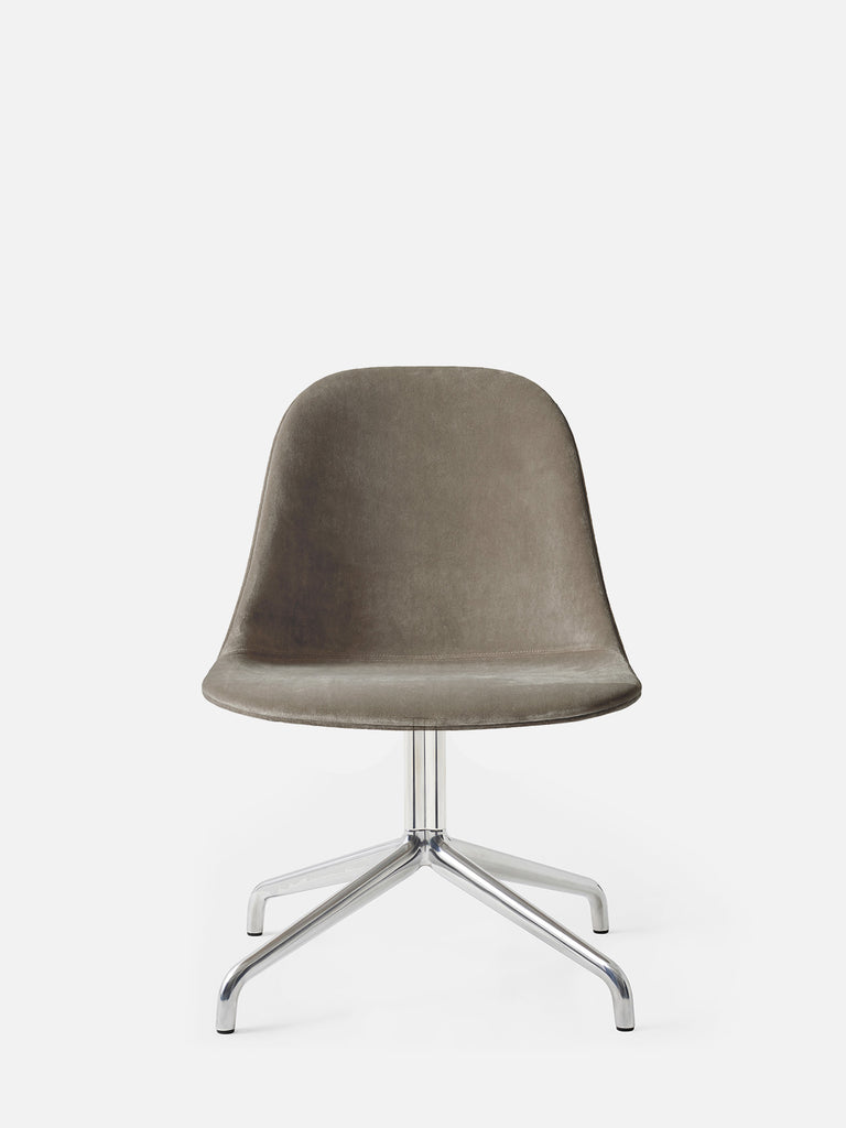 Harbour Side Chair, Upholstered-Chair-Norm Architects-Swivel Base (17.7in) - Polished Aluminum-Grey Brown Velvet CA7832 (078)-menu-minimalist-modern-danish-design-home-decor