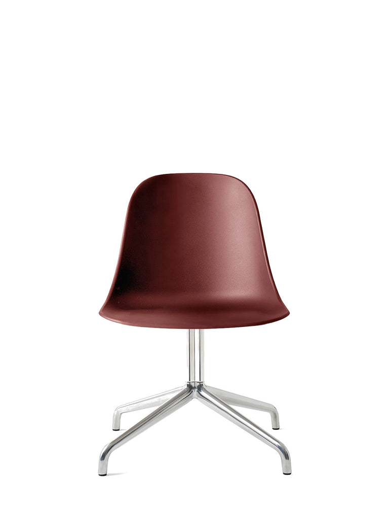 Harbour Side Chair, Hard Shell-Chair-Norm Architects-Swivel Base - Polished Aluminum-Burned Red-menu-minimalist-modern-danish-design-home-decor