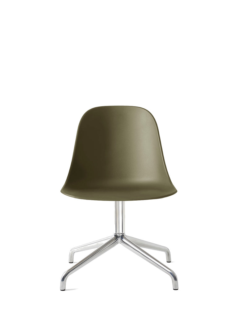 Harbour Side Chair, Hard Shell-Chair-Norm Architects-Swivel Base - Polished Aluminum-Olive-menu-minimalist-modern-danish-design-home-decor
