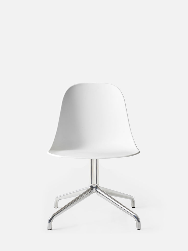Harbour Side Chair, Hard Shell-Chair-Norm Architects-Swivel Base - Polished Aluminum-White-menu-minimalist-modern-danish-design-home-decor