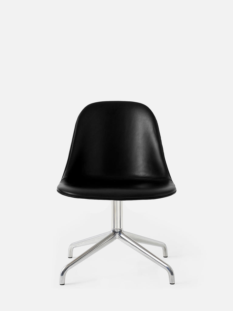 Harbour Side Chair, Upholstered-Chair-Norm Architects-Swivel Base (17.7in) - Polished Aluminum-Black Leather Dakar 0842-menu-minimalist-modern-danish-design-home-decor