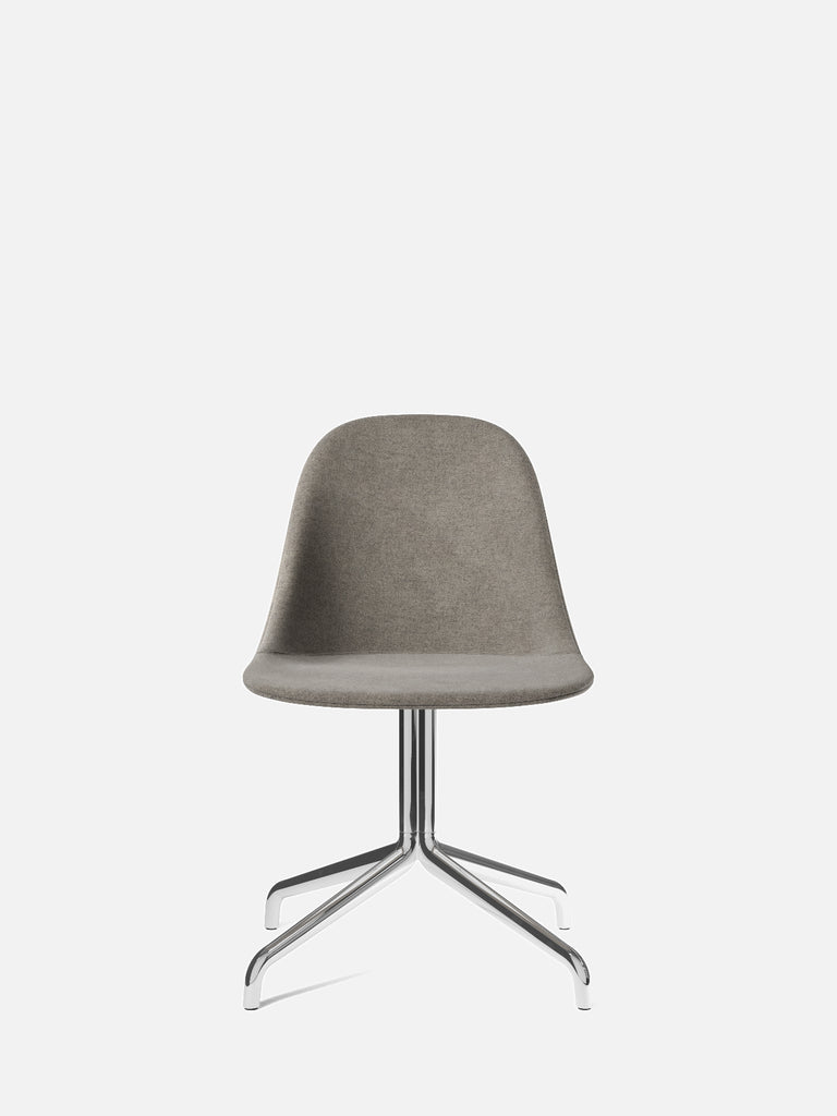 Harbour Side Chair, Upholstered-Chair-Norm Architects-Swivel Base (17.7in)/Polished Aluminum-0111/MelangeNap-menu-minimalist-modern-danish-design-home-decor