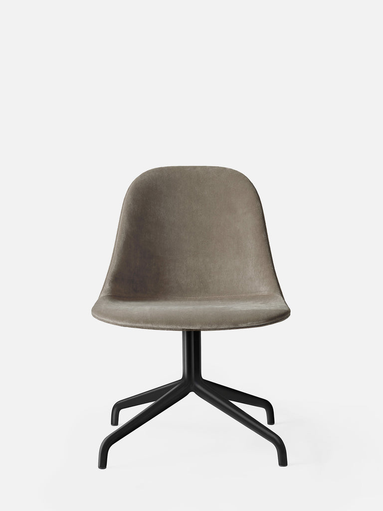 Harbour Side Chair, Upholstered-Chair-Norm Architects-Swivel Base (17.7in) - Black Steel-Grey Brown Velvet CA7832 (078)-menu-minimalist-modern-danish-design-home-decor