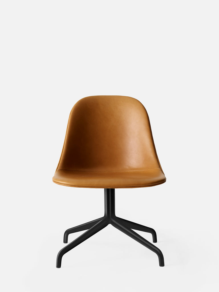 Harbour Side Chair, Upholstered-Chair-Norm Architects-Swivel Base (17.7in)/Black Steel-0250 Cognac/Dakar-menu-minimalist-modern-danish-design-home-decor