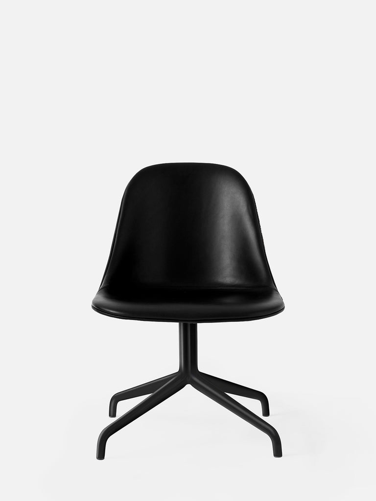 Harbour Side Chair, Upholstered-Chair-Norm Architects-Swivel Base (17.7in) - Black Steel-Black Leather Dakar 0842-menu-minimalist-modern-danish-design-home-decor