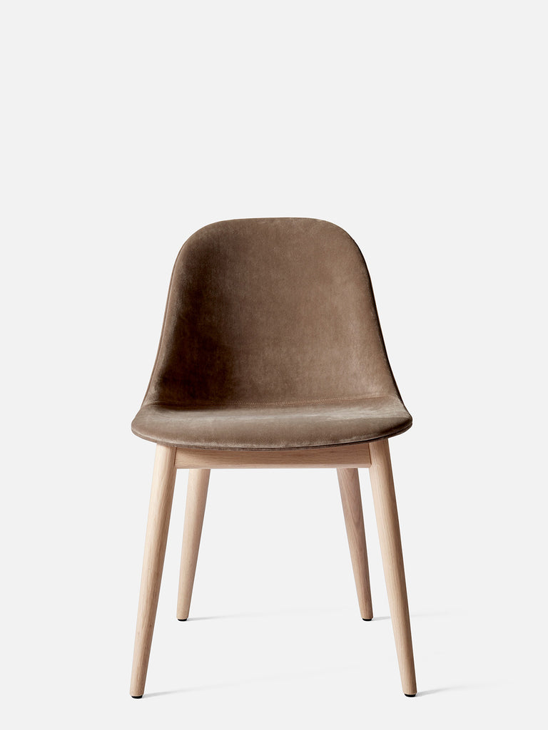 Harbour Side Chair, Upholstered-Chair-Norm Architects-Dining Height (17.7in) - Natural Oak-Grey Brown Velvet CA7832 (078)-menu-minimalist-modern-danish-design-home-decor